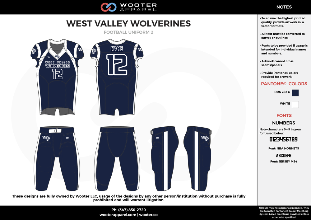 WEST VALLEY WOLVERINES navy blue white football uniforms jerseys pants