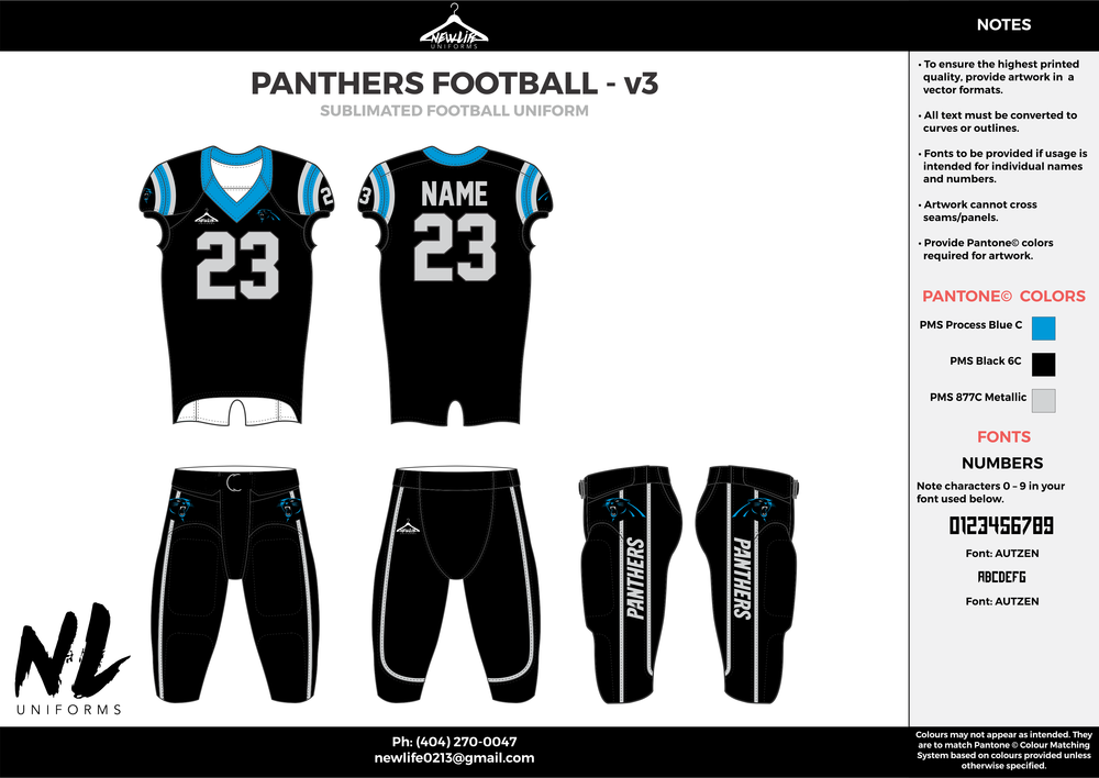 PANTHERS FOOTBALL - v3  black blue gray football uniforms jerseys pants