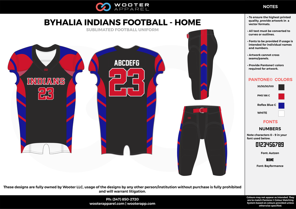 BYHALIA INDIANS FOOTBALL - HOME black red blue white football uniforms jerseys pants
