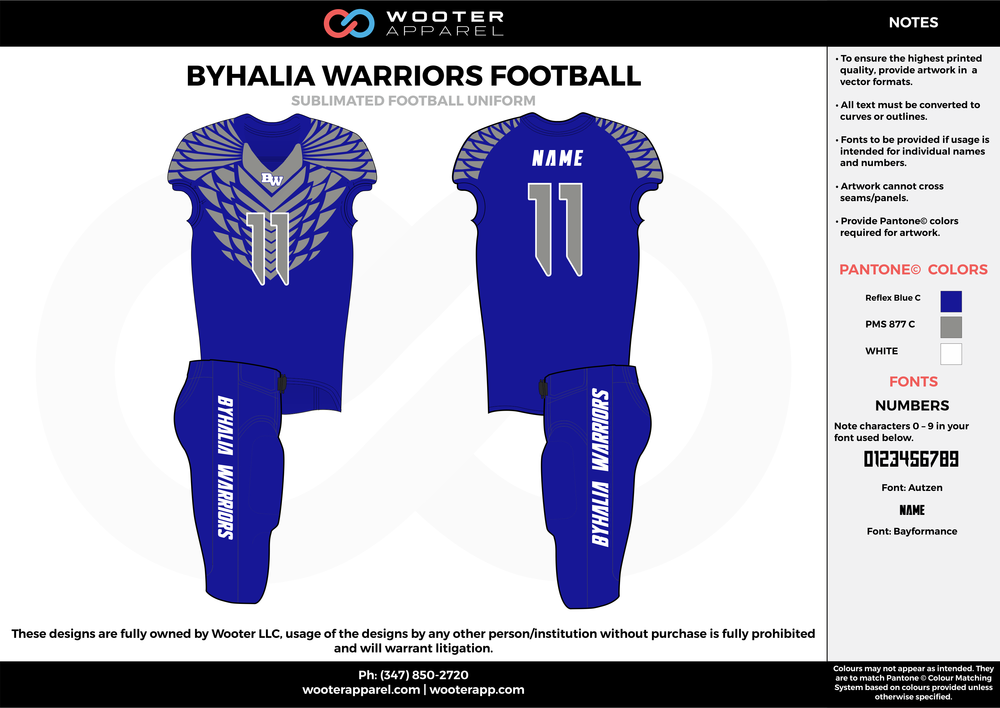 BYHALIA WARRIORS FOOTBALL blue gray white football uniforms jerseys pants