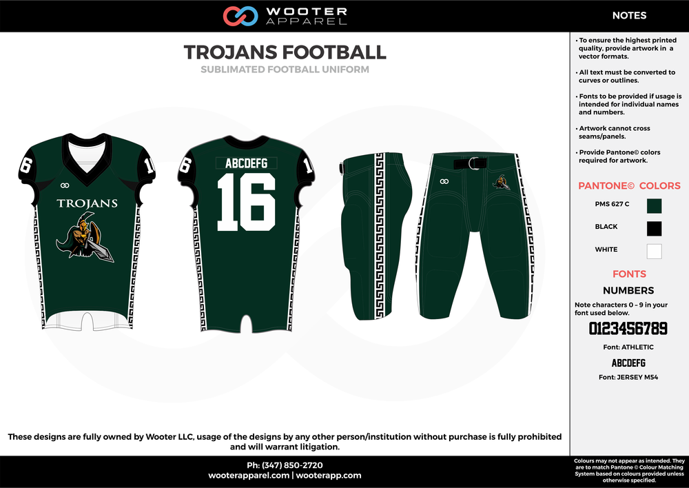 TROJANS FOOTBALL green black white football uniforms jerseys pants