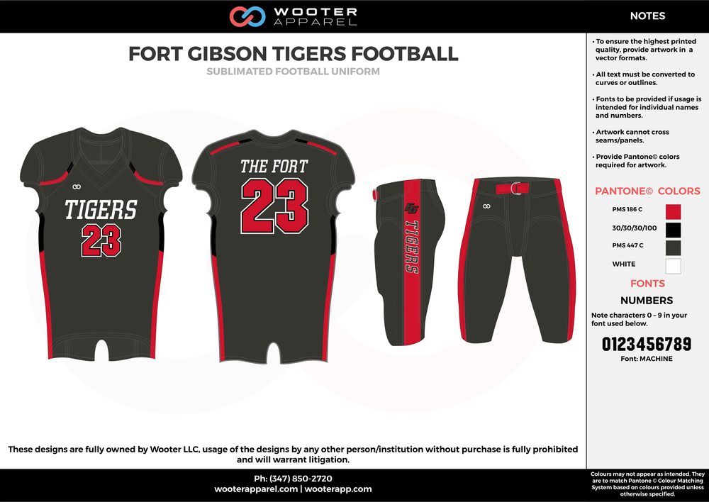 FORT GIBSON TIGERS FOOTBALL black red white football uniforms jerseys pants