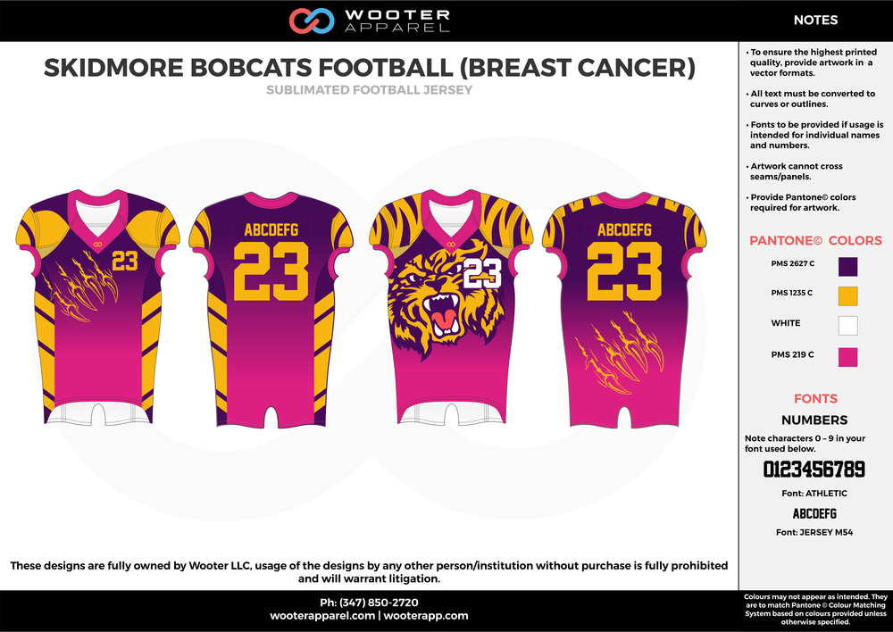 SKIDMORE BOBCATS FOOTBALL ( BREAST CANCER ) pink purple orange white football uniforms jerseys top