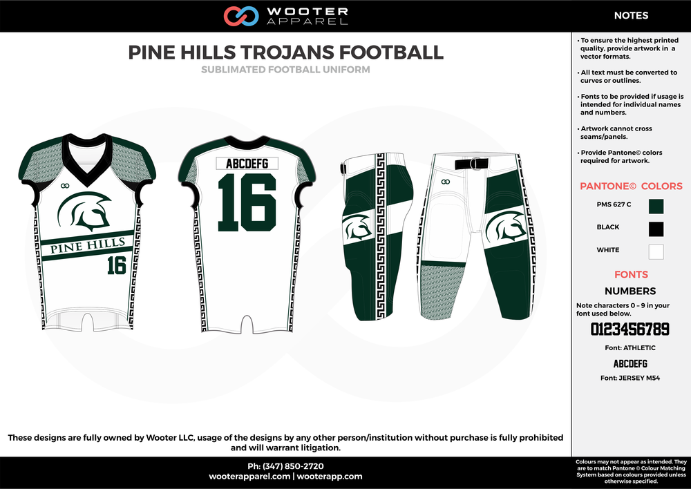 PINE HILLS TROJANS FOOTBALL green white gray football uniforms jerseys pants