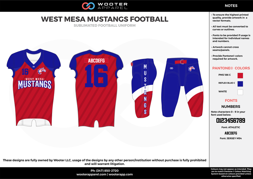 WEST MESA MUSTANGS FOOTBALL red blue white football uniforms jerseys pants