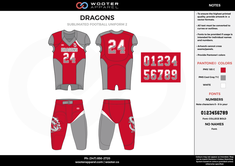 DRAGONS red gray white football uniforms jerseys pants