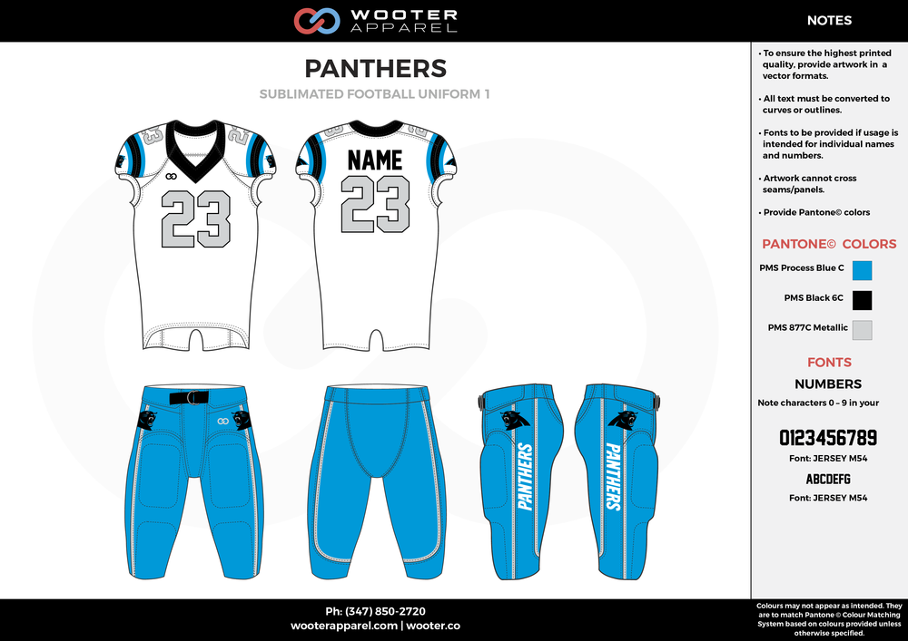 PANTHERS blue white gray football uniforms jerseys pants
