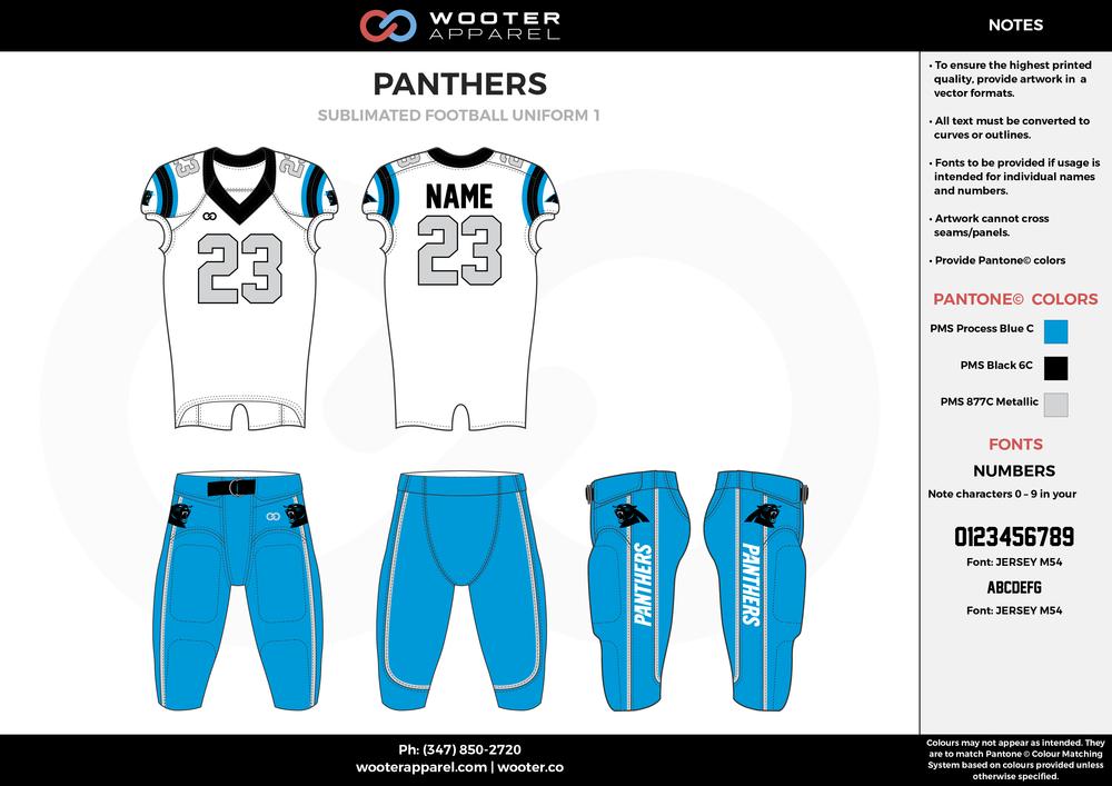 PANTHERS blue white gray football uniforms jerseys pants