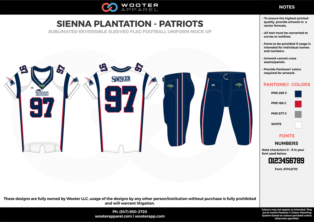 SIENNA PLANTATION - PATRIOTS white blue red gray Football Uniform, Jersey, Pants, Integraded