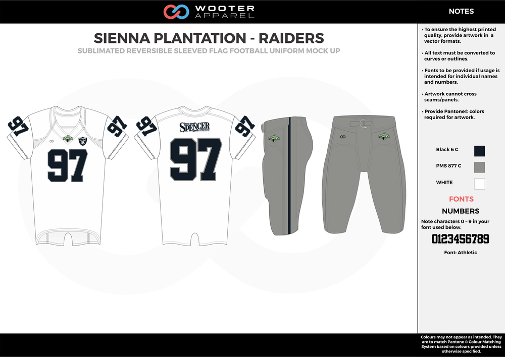 SIENNA PLANTATION - RAIDERS black gray white Football Uniform, Jersey, Pants, Integraded