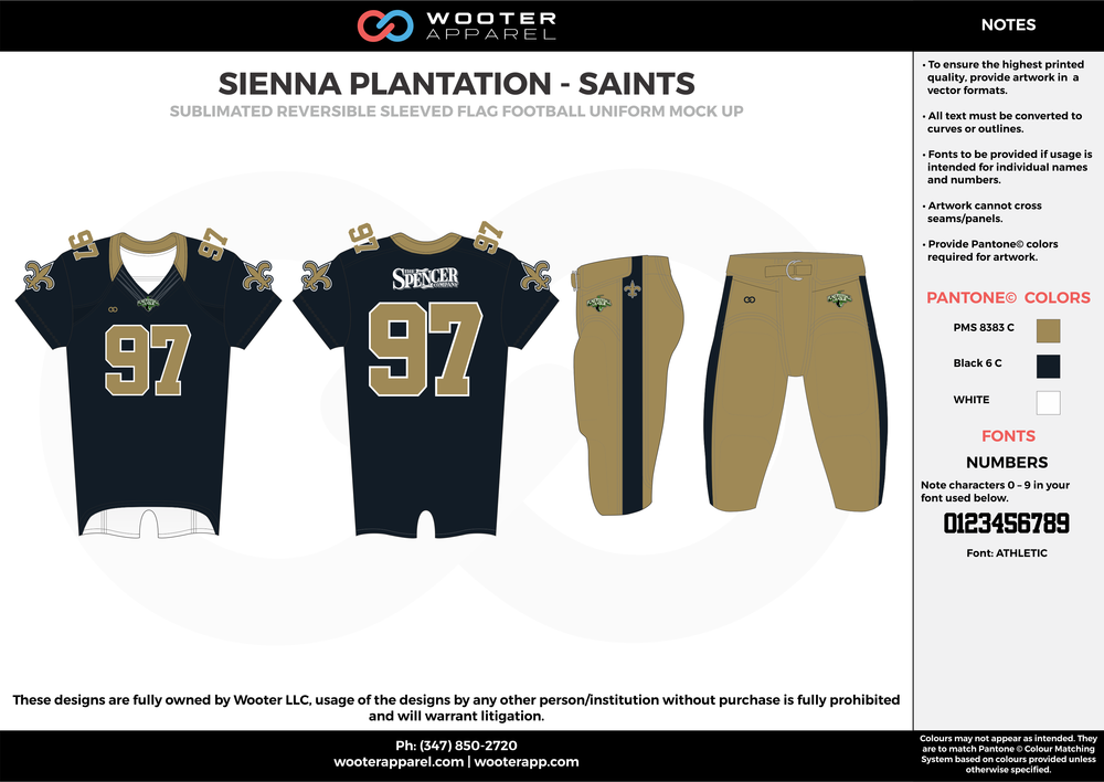 SIENNA PLANTATION - SAINTS black khaki white Football Uniform, Jersey, Pants, Integraded