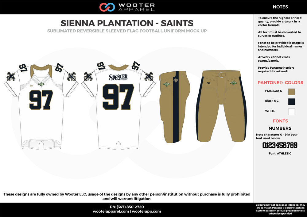 SIENNA PLANTATION - SAINTS khaki black white Football Uniform, Jersey, Pants, Integraded