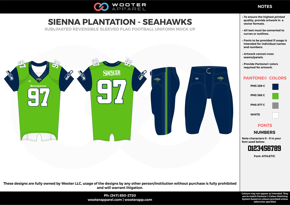 SIENNA PLANTATION - SEAHAWKS blue green gray white Football Uniform, Jersey, Pants, Integraded