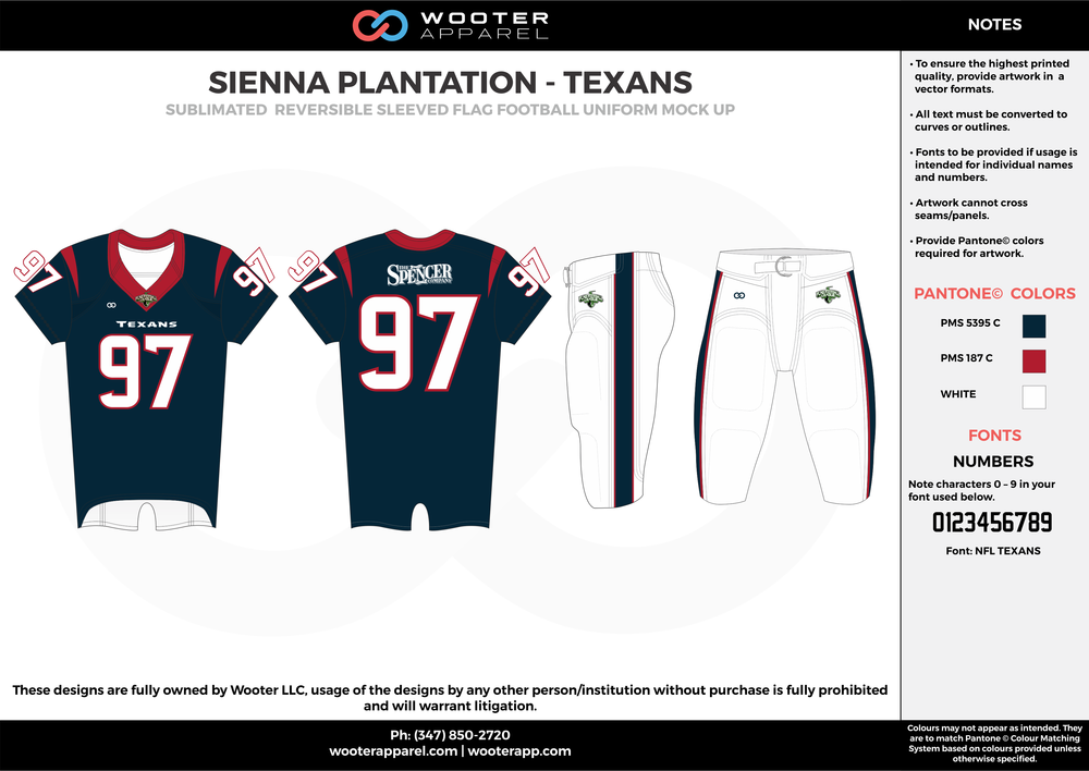 SIENNA PLANTATION - TEXANS  black red white Football Uniform, Jersey, Pants, Integraded