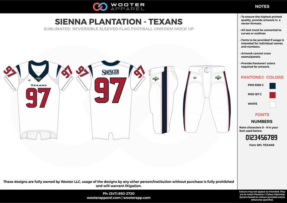 SIENNA PLANTATION -TEXANS white red black Football Uniform, Jersey, Pants, Integraded