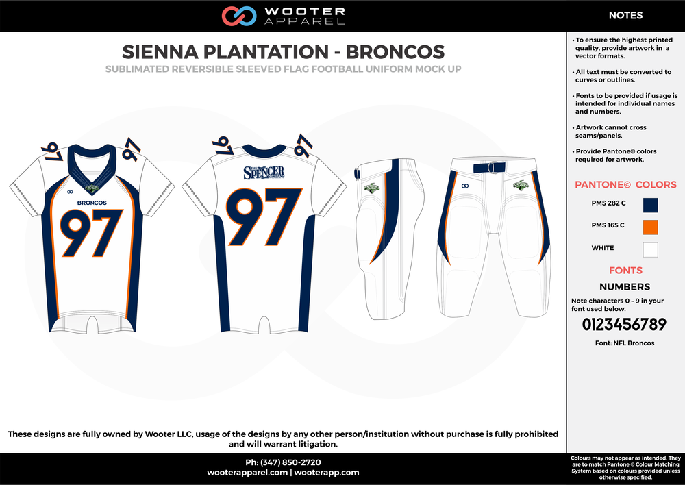 SIENNA PLANTATION - BRONCOS white red black Football Uniform, Jersey, Pants, Integraded