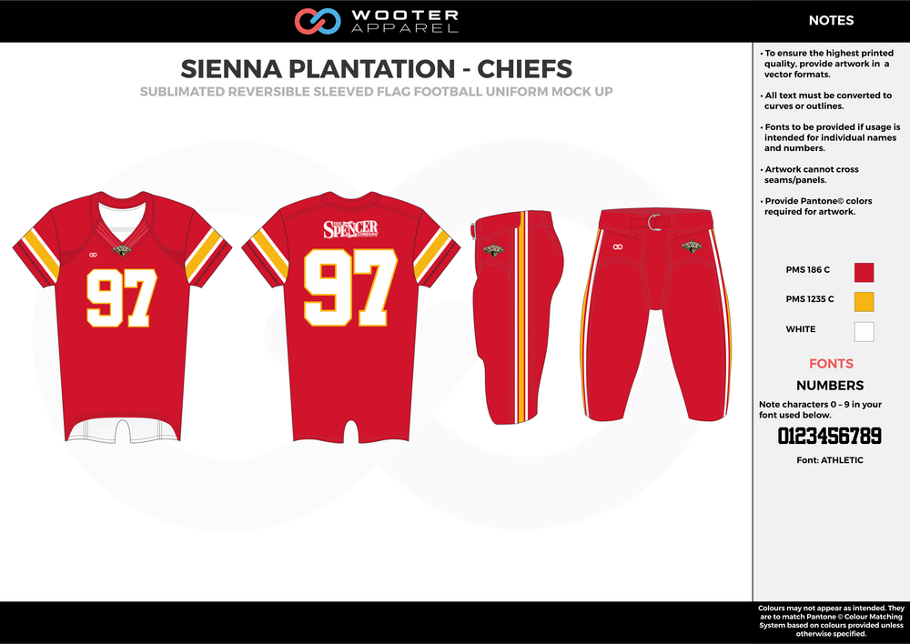 SIENNA PLANTATION - CHIEFS red orange white Football Uniform, Jersey, Pants, Integraded