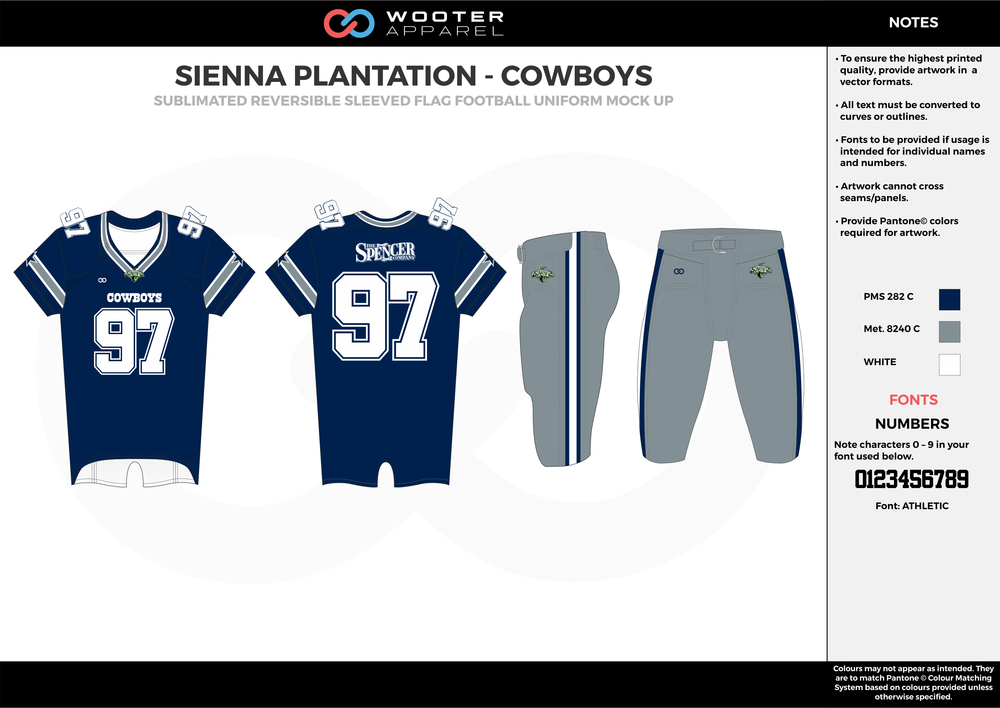SIENNA PLANTATION - COWBOYS blue gray white Football Uniform, Jersey, Pants, Integraded