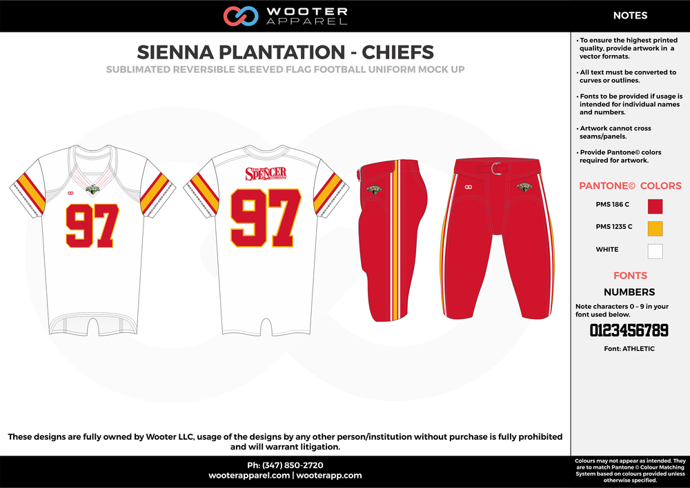 SIENNA PLANTATION - CHIEFS red yellow white Football Uniform, Jersey, Pants, Integraded