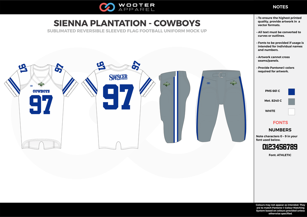 SIENNA PLANTATION - COWBOYS gray white blue Football Uniform, Jersey, Pants, Integraded