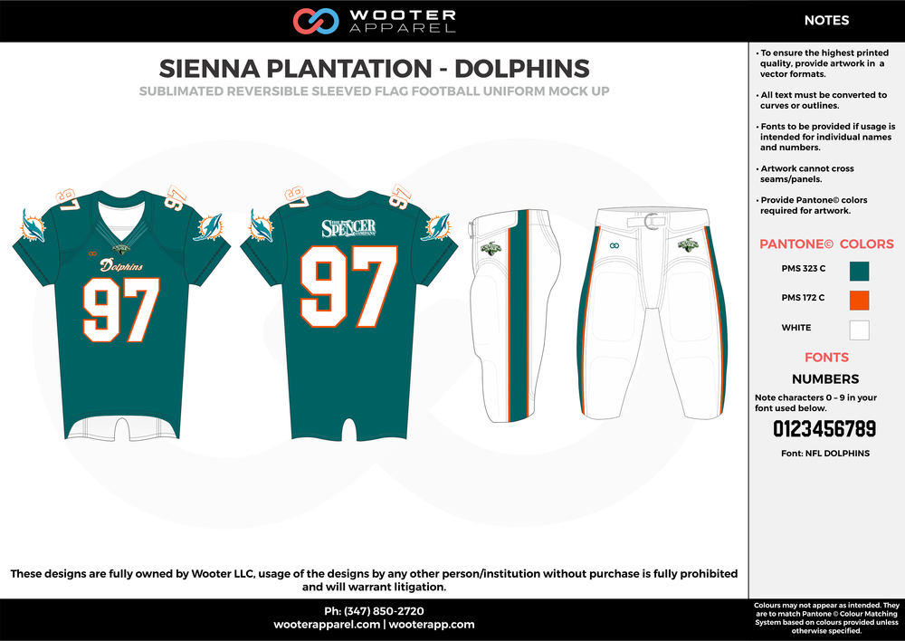 SIENNA PLANTATION --DOLPHINS water blue white Football Uniform, Jersey, Pants, Integraded
