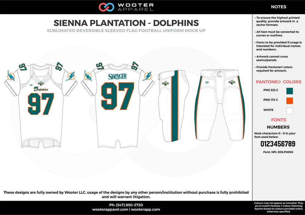 SIENNA PLANTATION - DOLPHINS white green orange Football Uniform, Jersey, Pants, Integraded