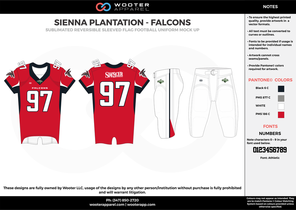 SIENNA PLANTATION - FALCONS red white gray black Football Uniform, Jersey, Pants, Integraded