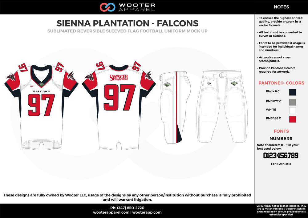 SIENNA PLANTATION - FALCONS black gray white red Football Uniform, Jersey, Pants, Integraded
