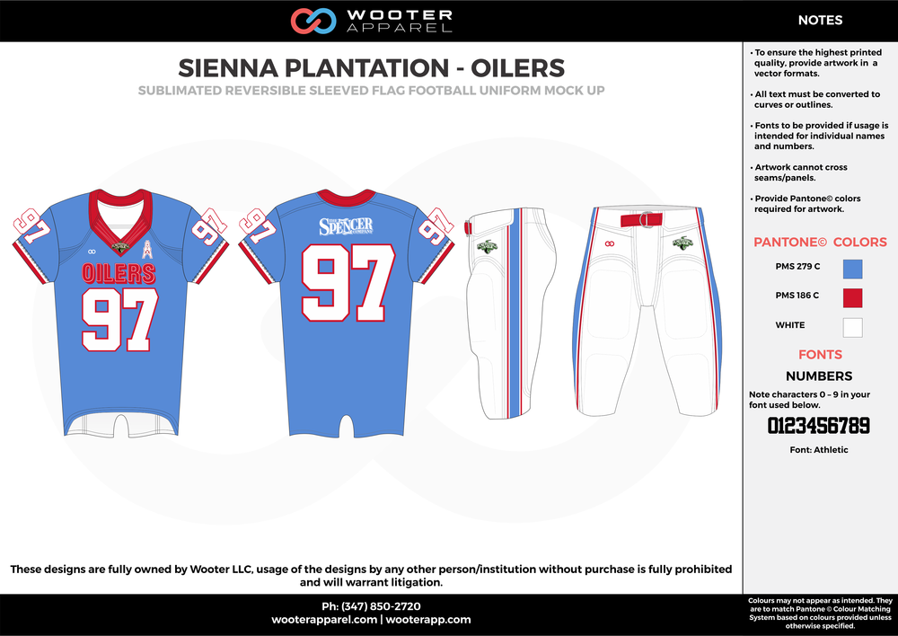 SIENNA PLANTATION - OILERS blue red white Football Uniform, Jersey, Pants, Integraded