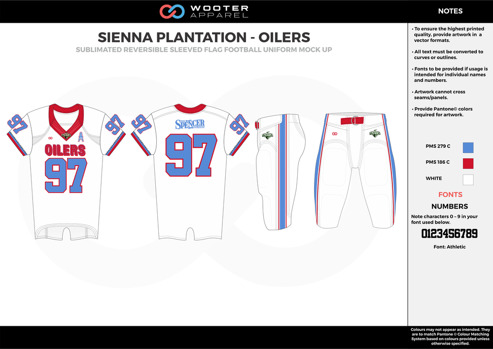 SIENNA PLANTATION - OILERS white blue red Football Uniform, Jersey, Pants, Integraded