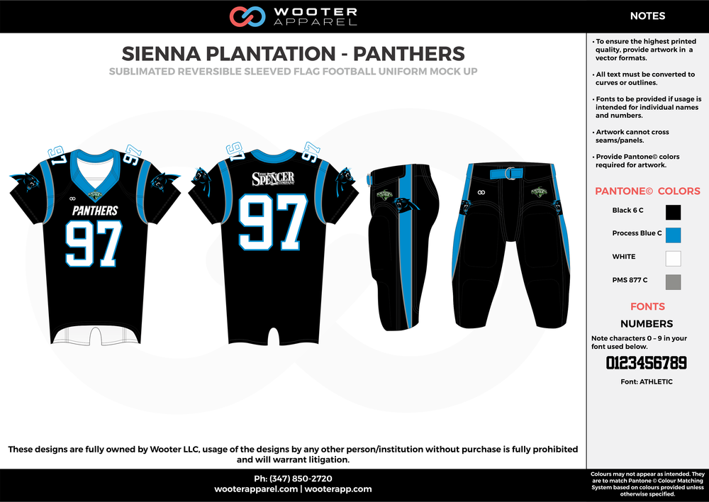 SIENNA PLANTATION - PANTHERS black blue gray white Football Uniform, Jersey, Pants, Integraded