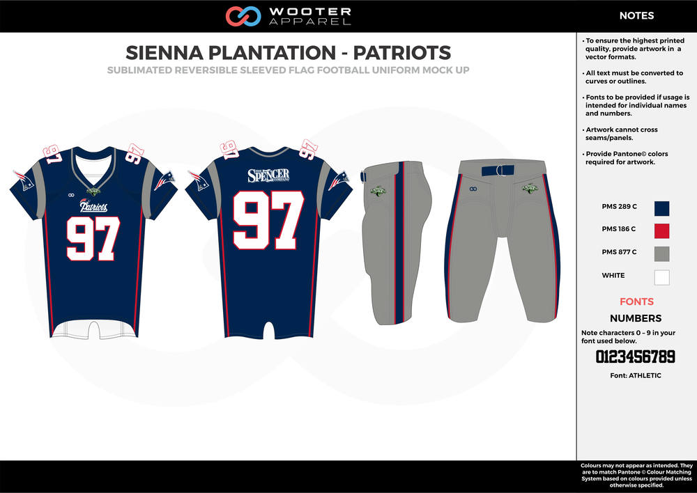 SIENNA PLANTATION - PATRIOTS blue red gray white Football Uniform, Jersey, Pants, Integraded