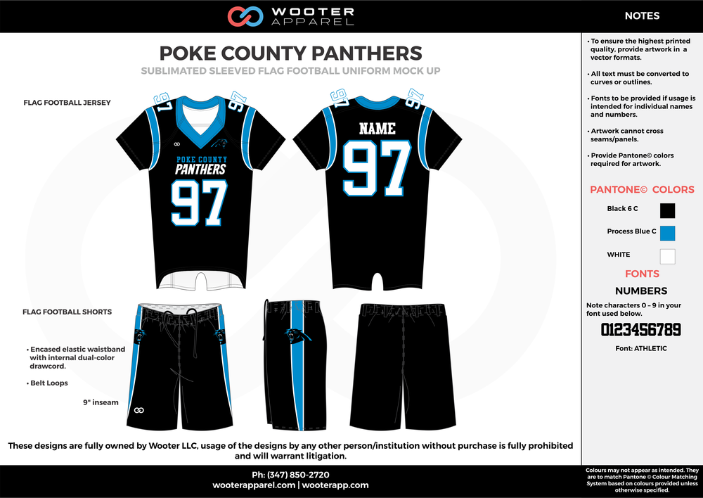 POKE COUNTY PANTHERS black blue white flag football uniforms jerseys shorts