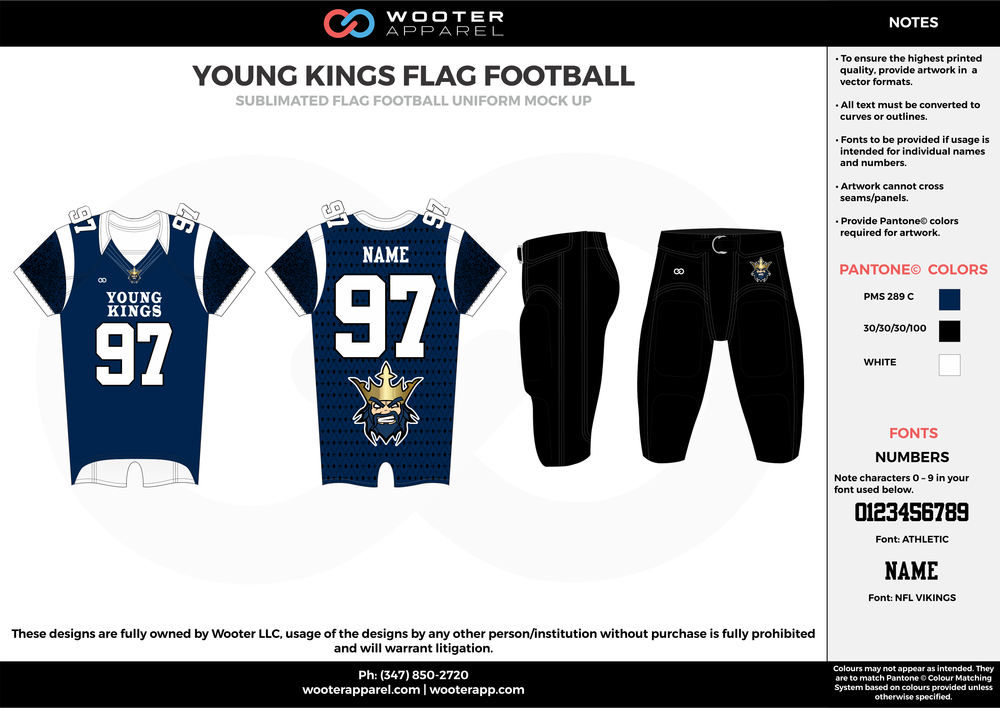 YOUNG KINGS FLAG FOOTBALL blue black white flag football uniforms jerseys pants