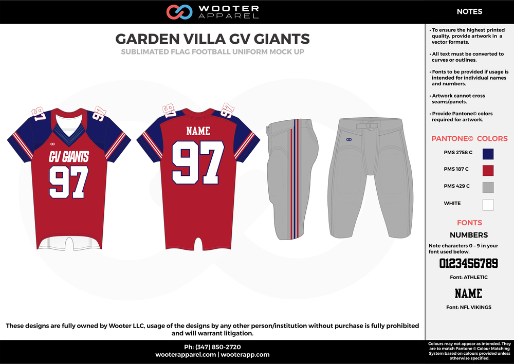 GARDEN VILLA GV GIANTS red blue gray white flag football uniforms jerseys pants