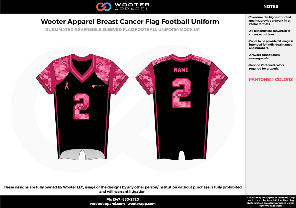 Wooter Apparel Breast Cancer black pink flag football uniforms jerseys top