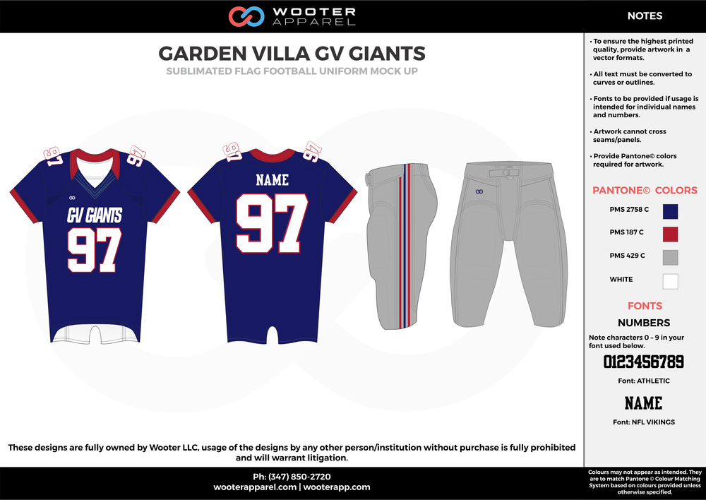 GARDEN VILLA GV GIANTS blue gray red white flag football uniforms jerseys pants