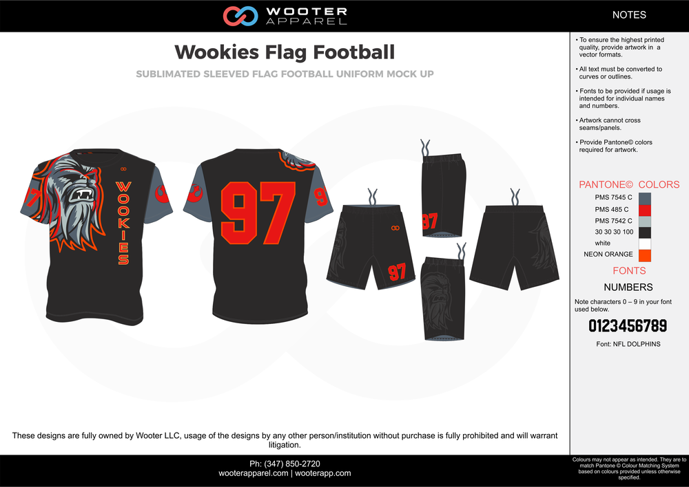 Wookies Flag Football black red gray flag football uniforms jerseys shorts