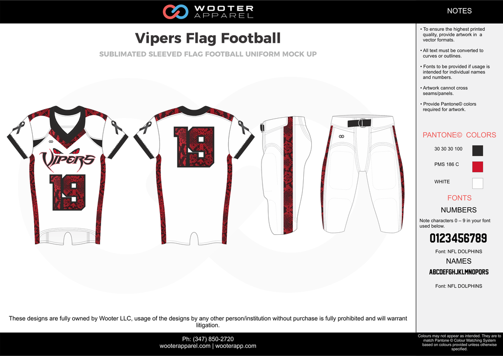 VIPERS Flag Football white maroon flag football uniforms jerseys pants