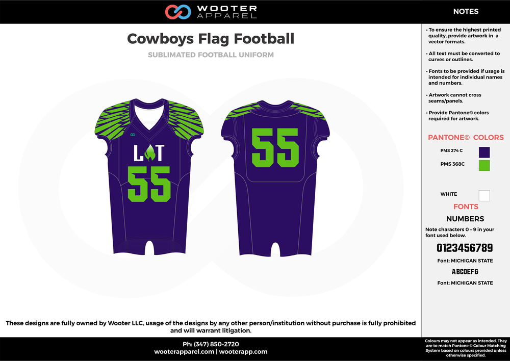 COWBOYS Flag Football blue green flag football uniforms jerseys top