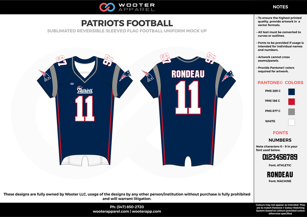 PATRIOTS FOOTBALL blue gray red white flag football uniforms jerseys top