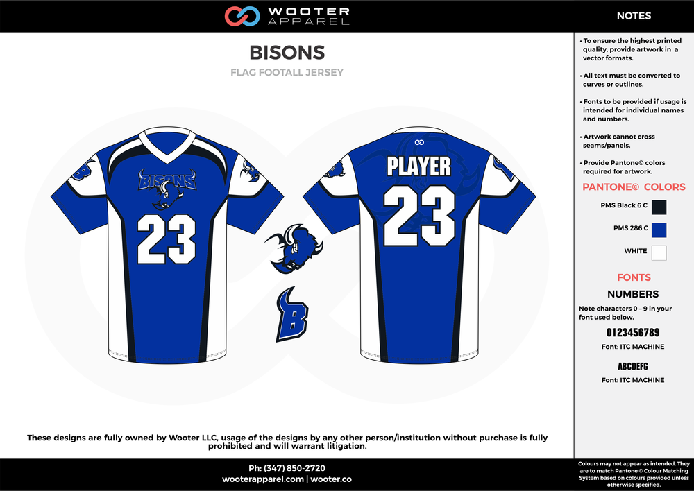 BISONS blue white black flag football uniforms jerseys top