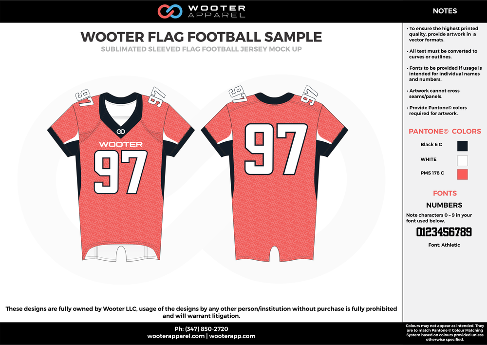 WOOTER FLAG FOOTBALL SAMPLE pink white black flag football uniforms jerseys top