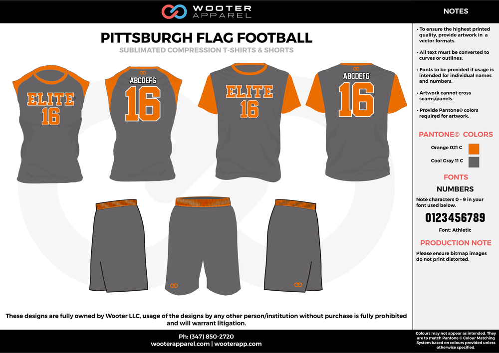PITTSBURGH FLAG FOOTBALL black orange flag football uniforms jerseys shorts