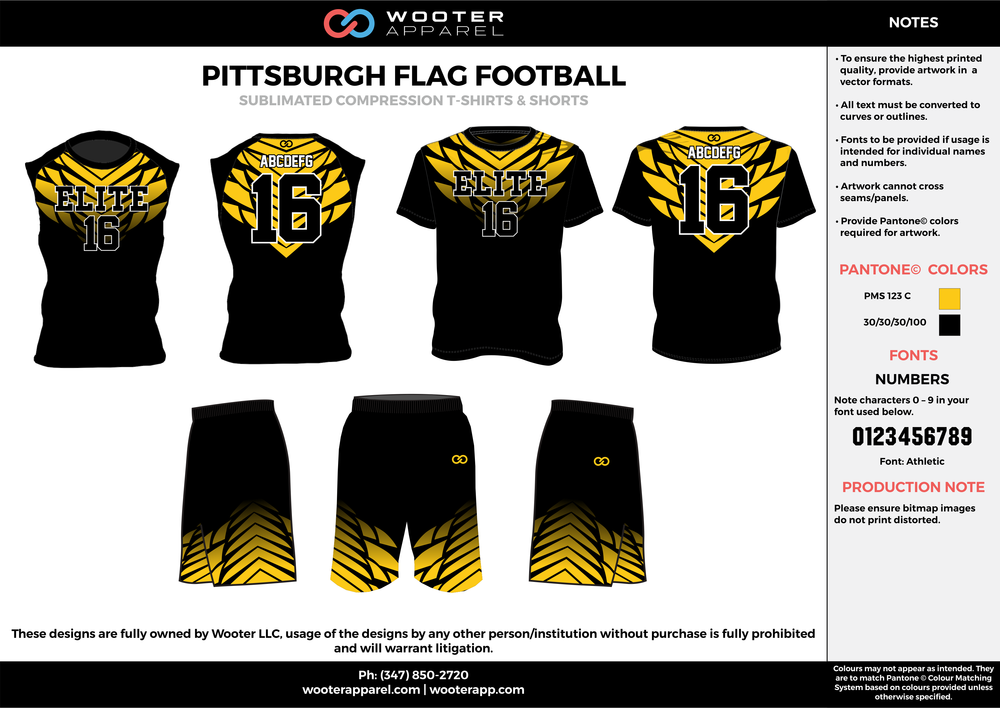 PITTSBURGH FLAG FOOTBALL yellow black flag football uniforms jerseys shorts