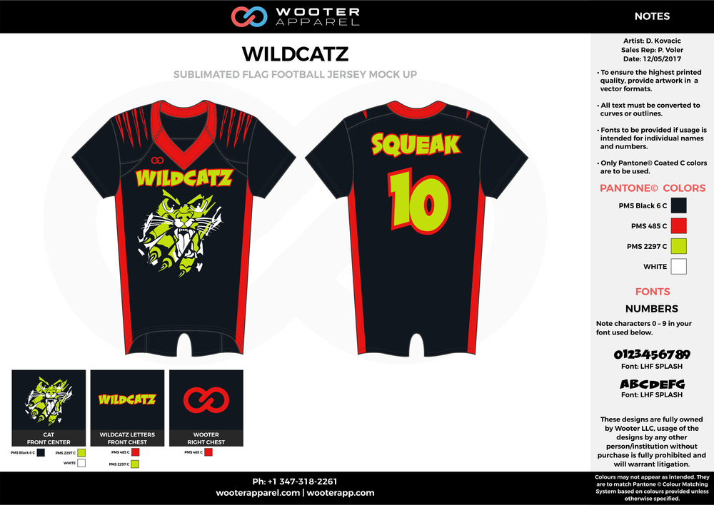 WILDCATZ black red yellow white flag football uniforms jerseys top
