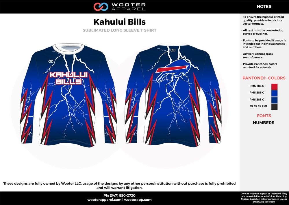 KAHULUI BILLS blue red black flag football uniforms jerseys long sleeve