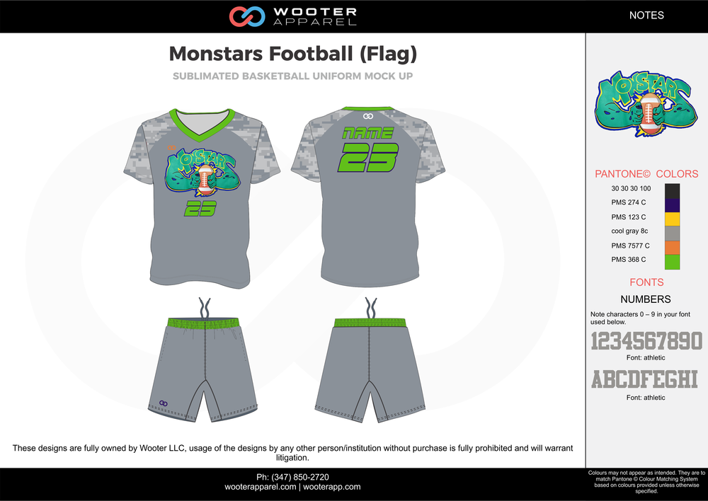 MONSTARS FOOTBALL (FLAG) gray green blue flag football uniforms jerseys shorts
