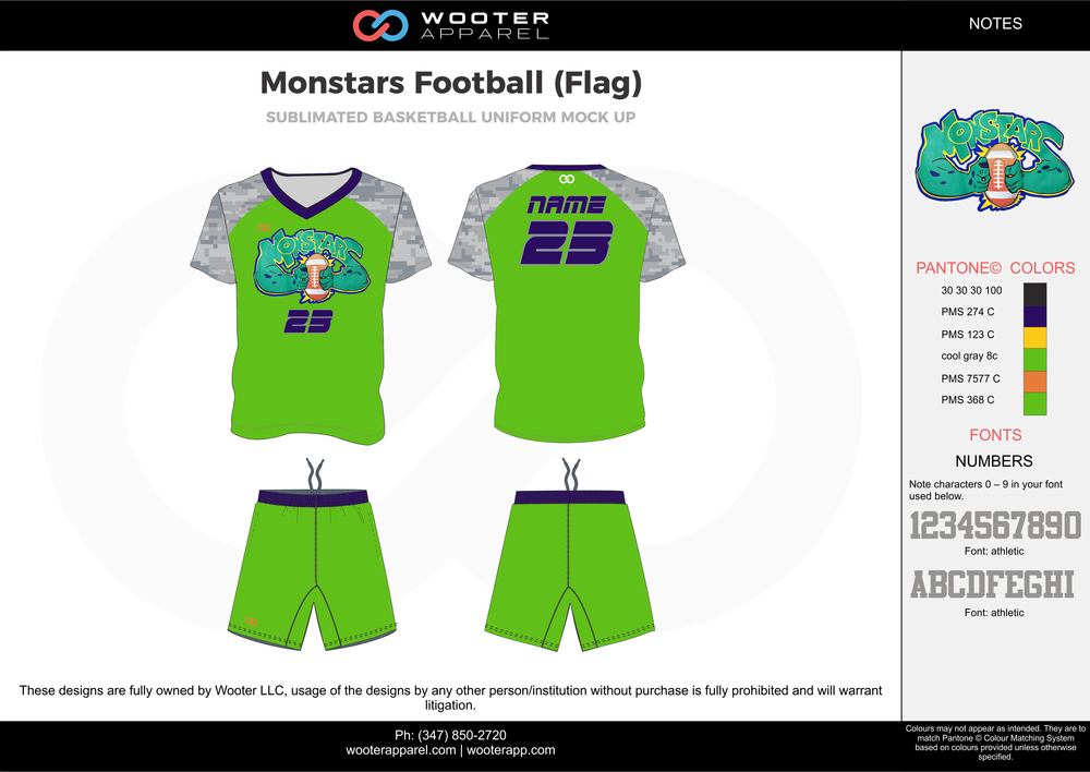 MONSTARS FOOTBALL (FLAG) green gray blue yellow flag football uniforms jerseys shorts