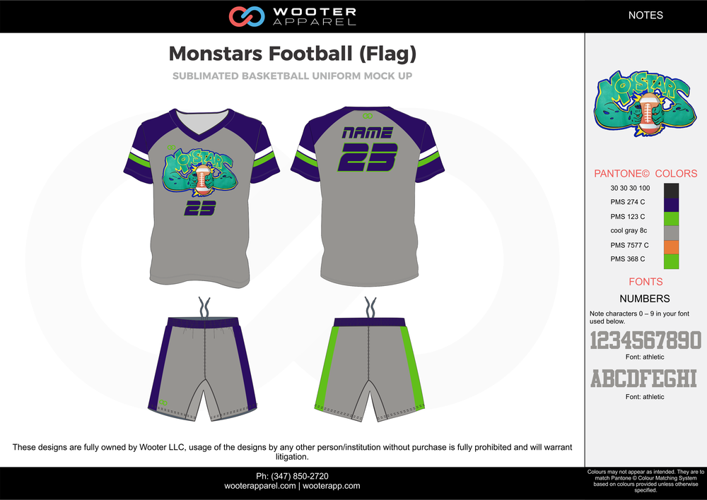 MONSTARS FOOTBALL (FLAG) gray green blue orange flag football uniforms jerseys shorts